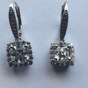 Cubic Zirconia Princess Dangles with Cubic Accdnts